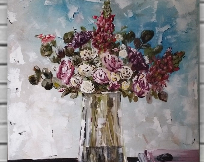 24 x 30 acrylic painting of flowers in vase. Pink floral art in vase abstract realisom painting of flowers and books  Marcy chapman orignal