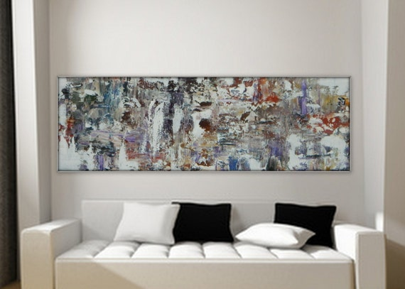 "Large long original abstract paining by MARCY CHAPMAN 36"" x 12""  gallery wrapped available upon request!"