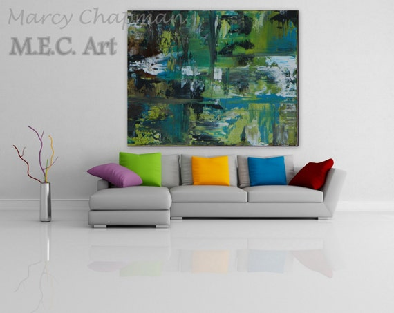 green bue turquoise large abstract painting original artwork on canvas custom order gerhard richter style xl painting large modern art
