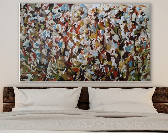 Extra large original acrylic painting by Marcy Chapman feild of flowers flower bush abstract flowers red orange blue green rust modern wall