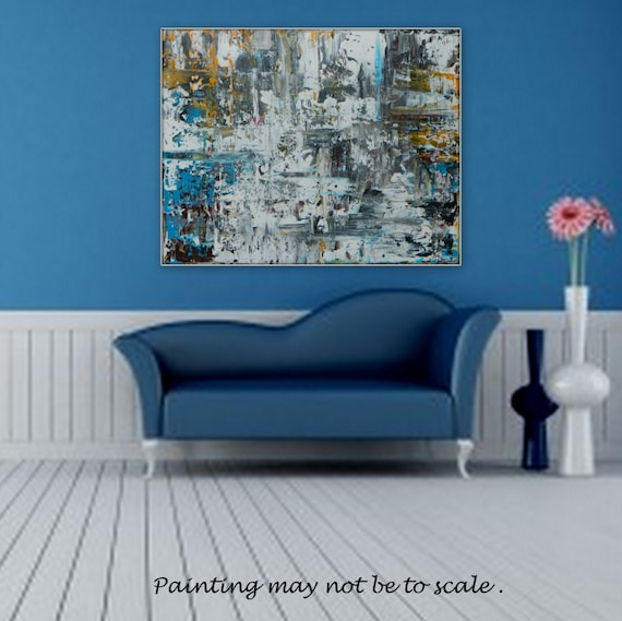 LARGE original acrylic painting Color Black White Blue Yellow custom order original art wall art modern wall art contemporary wall art