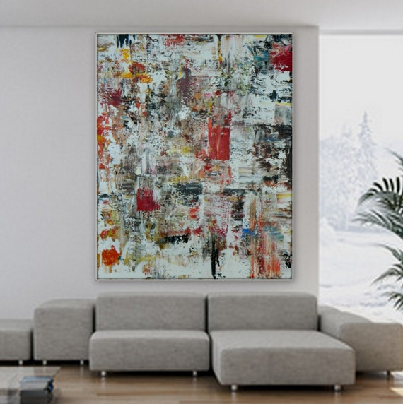 Sample Huge Extra Large original abstract acrylic painting XL painting large wall art decoration custom order acrylic painting red black