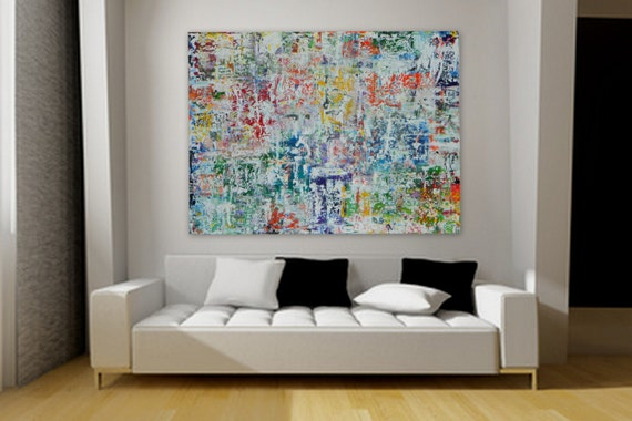 Large Original Acrylic Painting by Marcy Chapman wall art home decore red orange yellow blue green purplue pink white turquoise blue