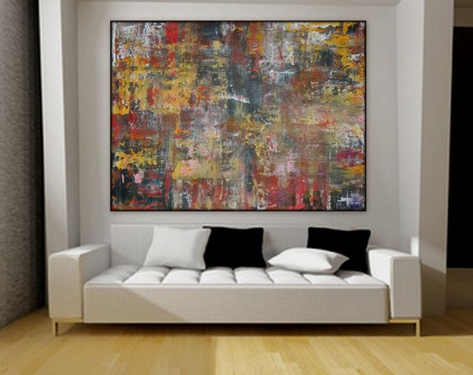 Extra Large Painting Huge, XL Large Original painting by Marcy Chapman wall art decor, canvas red yellow black orange lavender, custom order