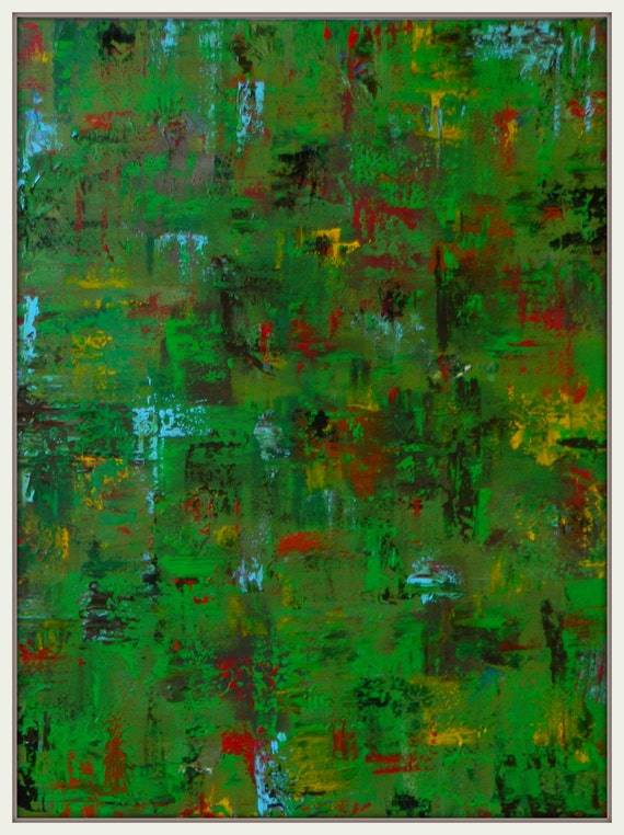 "XL large green ""Gethsemane"" red blue black and yellow acrylic painting original modern abstract painting contemporary art 48"" x 36"""