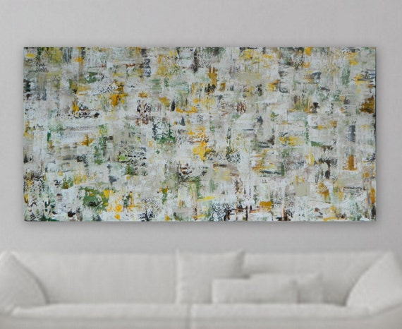 XL custom order abstract painting yellow green sage brown grey white cream large abstract art modern painting modern contemporary painting