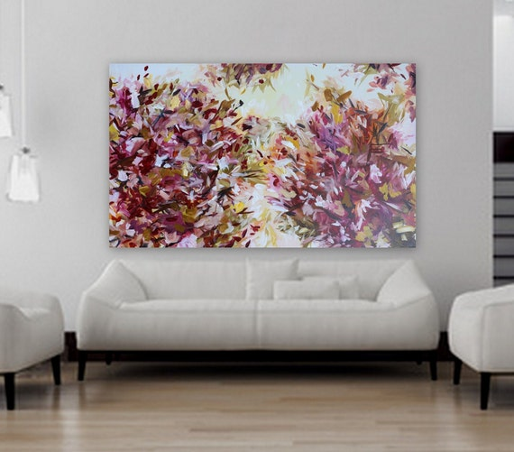 Original Abstract floral painting, pink painting, pretty art by marcy chapman 36 x 60 inche,s large abstract painting, pink, purple