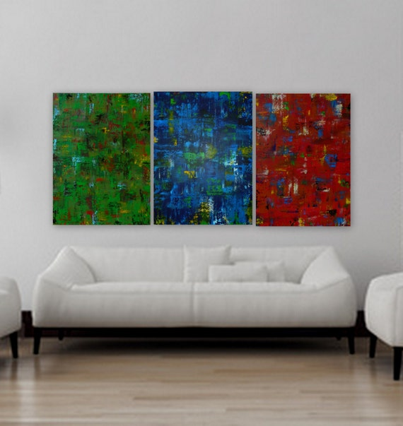 "XL large Green red and blue yellow 3- 30"" x 40"" panel acrylic paintings original modern abstract painting contemporary art each 48"" x 36"""