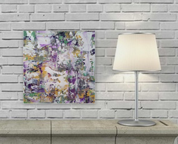"original abstract modern painting ready to hang ""Comfort"" gallery wrapped wood frame large abstract painting"