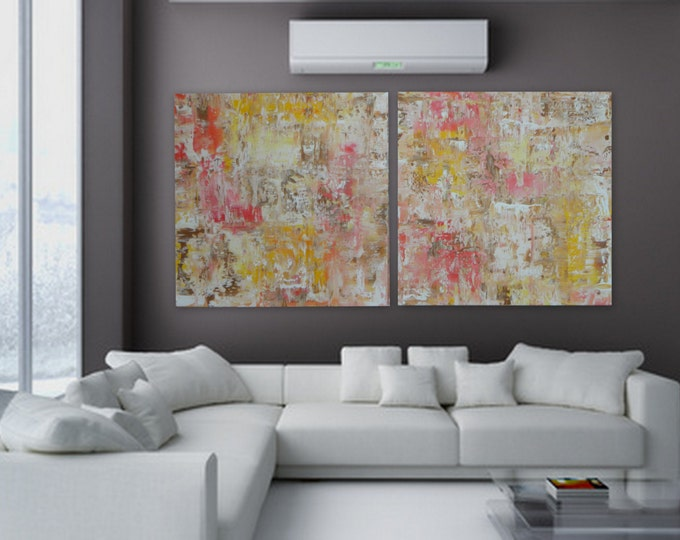 Pink yellow brown beige Large 2 panel original modern abstract acrylic painting wall art decor decoration XL huge Custom colors and sizes