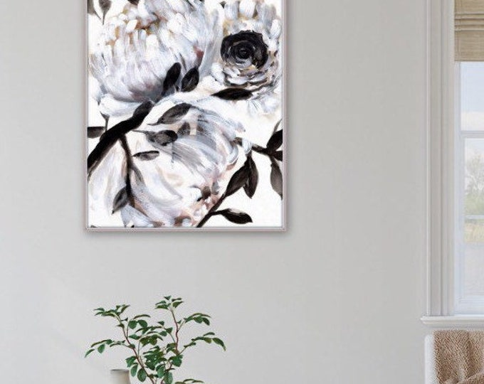 Botanical, floral farmhouse print by Marcy Chapman, original prints by the artist, mixed media painting, floral wall art modern farmhouse