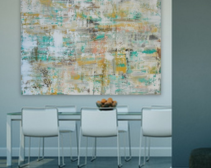 """Large  Modern Abstract xxl Huge 60"""" x 48"""" Original painting EXTRA LARGE gray silver, gold yellow, cream white, brown, turquoise/blue , pink"""
