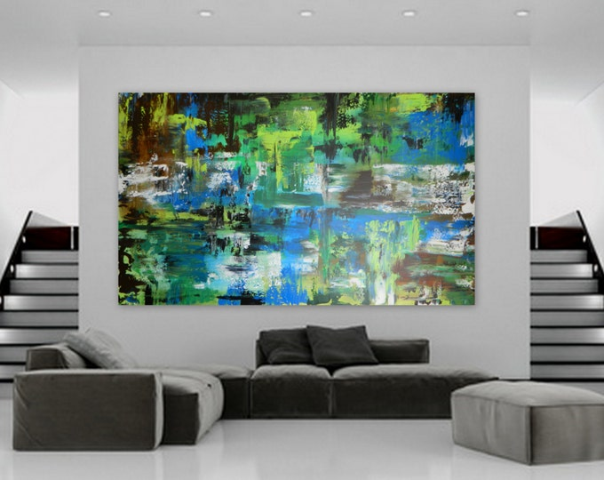 Huge Custom Order Abstract Modern Contemporary Painting Marcy Chapman wall art decor extra large blue olive green teal turquoise  XXL