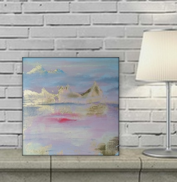 Pretty gold leaf landscape painting by Marcy Chapman pink purple blue painting abstract art for wall at home