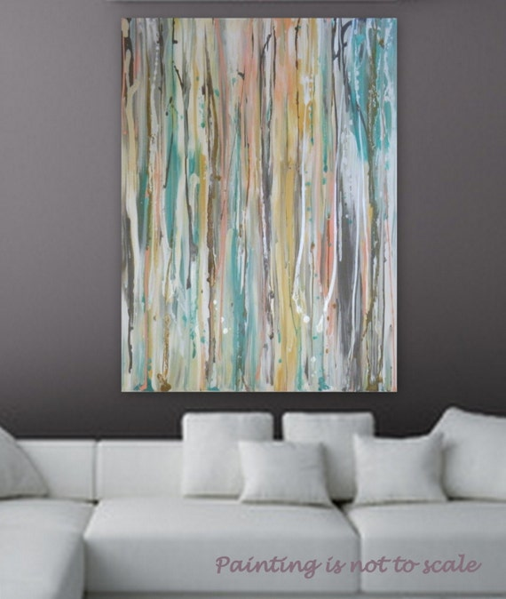 "Large Pastel Abstract painting by Marcy Chapman 40"" x 30""  wall art  decore Turquoise, metalic silver, white pink, peach, blue, brown"