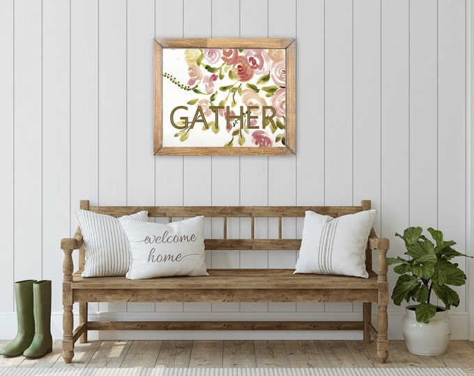 Entryway Botanical, floral farmhouse prints by Marcy Chapman, original prints, mixed media painting, floral wall art modern farmhouse