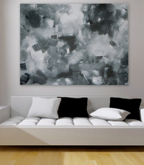"Large original modern abstract painting  30"" x 40"" Wall art home decor modern painting decoration Black white and gray custom color"