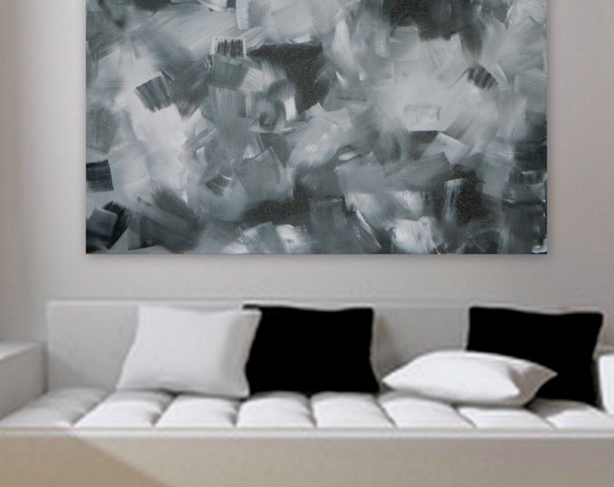 """Large original modern abstract painting  30"""" x 40"""" Wall art home decor modern painting decoration Black white and gray custom color"""