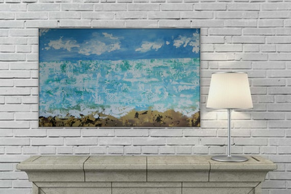 seascape original Abstract Modern Contemporary wall art decor extra large enormous  ocean blue white brown XL XXL grande dipinto huge