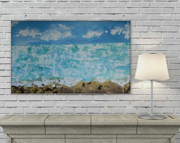 Seascape Original Abstract Modern Contemporary wall art decor extra large enormous  ocean blue white brown XL XXL grande dipinto huge