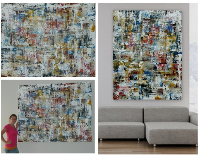"""XXL huge abstract paintings XL original paintings white red green blue yellow purple pink red  70"""" x 55"""" custom painting by Marcy Chapman"""