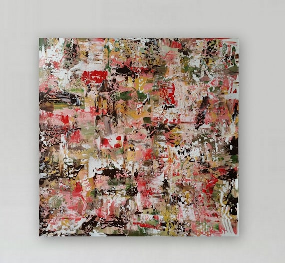 "Large pink and brown abstract painting original abstract modern painting large abstract painting "" Vintage Rose"""