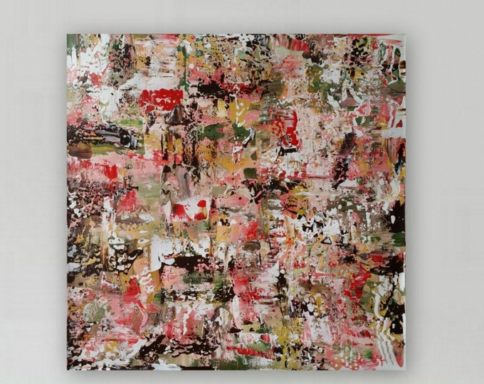 """Large pink and brown abstract painting original abstract modern painting large abstract painting """" Vintage Rose"""""""