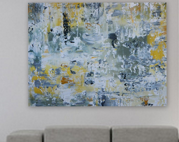 Sample ONLY Large original painting by Marcy Chapman gray, yellow, white and black Reday to hang