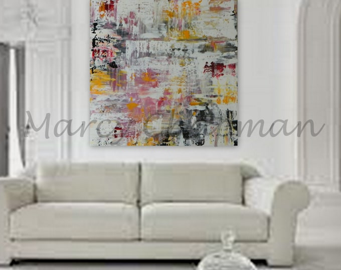 """XXL, XL, Large, Huge Abstract Painting 48"""" x 48"""" on 1.5"""" wood frame ready to hang ~Modern colors"""