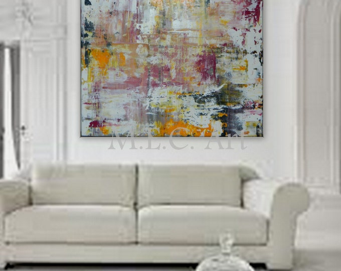 Extra Large Painting Huge Original abstract painting white, pink abstract painting, yellow abstract, black abstract painting, acrylic paint