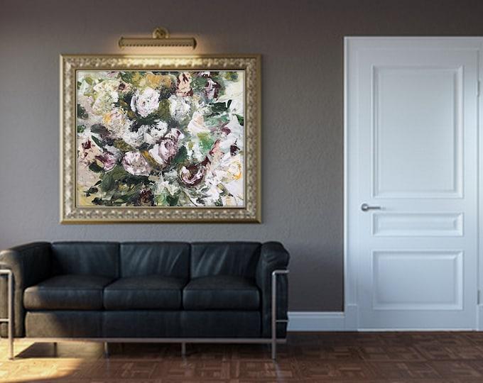 XL super pretty, custom order abstarct floral, botanical art, customizeable sample, marcy chapman, gorgeous artwork , extremely textured