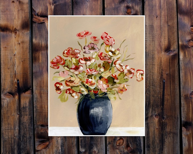 Poppies in navy vase, 14 x 11 16x20 Print from the artist pretty red yellow floral print living room, bedrooom wall art, farmhouse decor