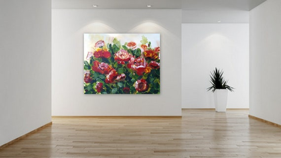 large floral painting xl floral art huge painting by Marcy Chapman custom order paiting available customization