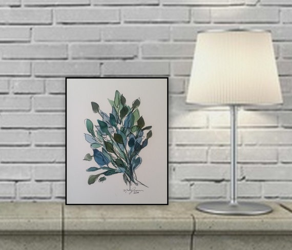 blue leaves painting ink abstract original painting on paper