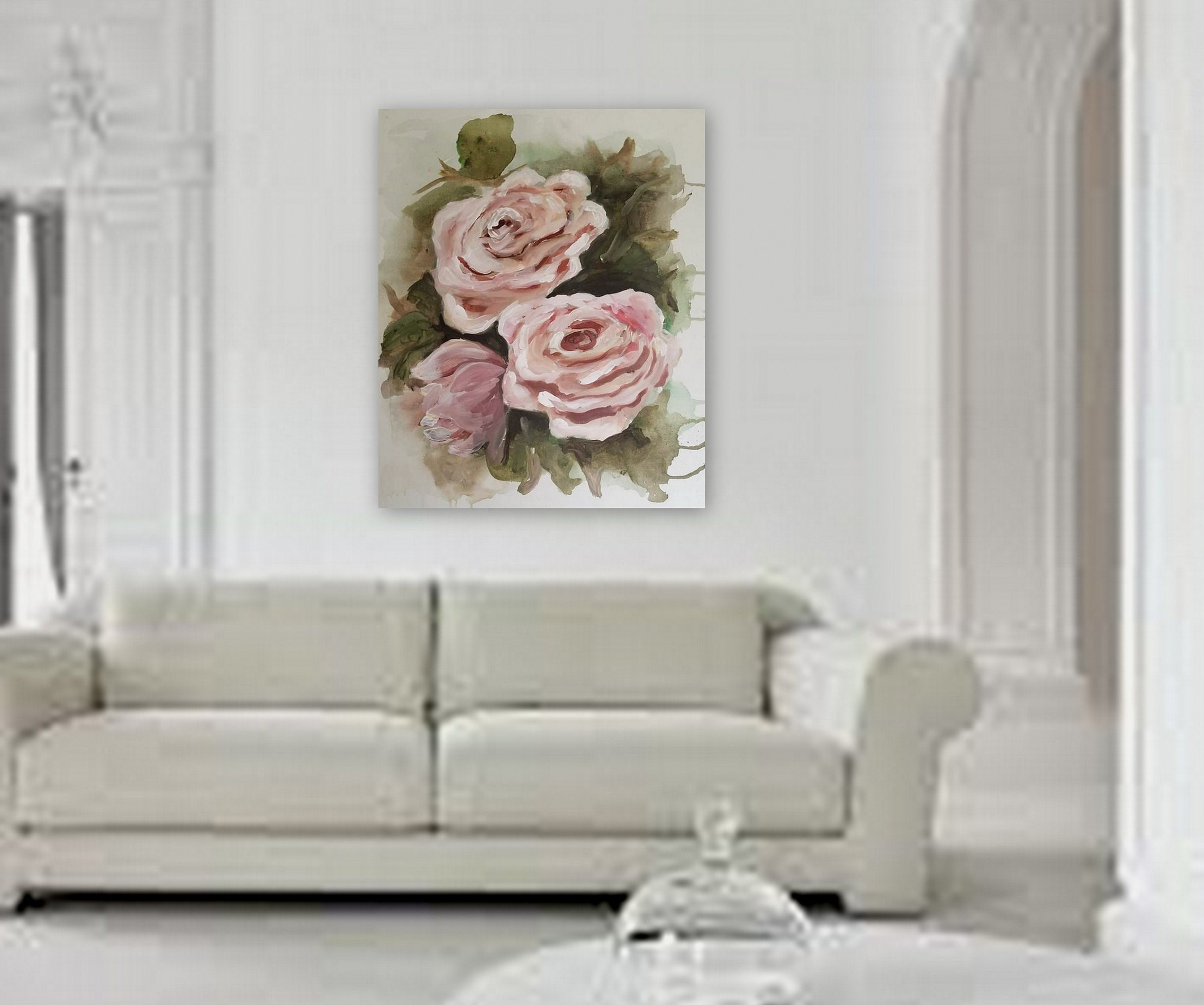 Semi Abstract Floral Painting Rose Wall Art Pretty For Home Decor