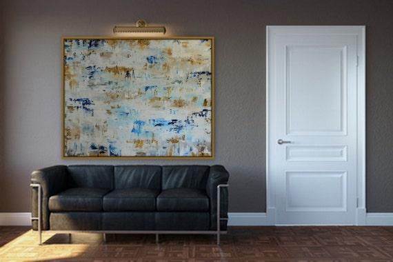 huge original modern abstract painting wall art, acrylic canvas painting, large extra large custom painting gold silver blue white