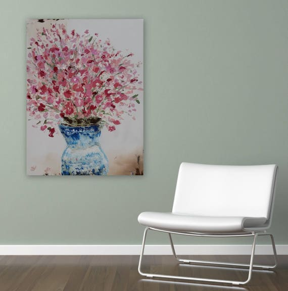 """Large floral painting gallery wrapped ready to hang on 1.5"""" deep frame orginal painting 30 x 24"""