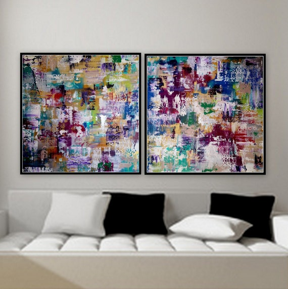 SOLD 2 panel paintings 36 x36 custom order large 2 panel artwork original paintings wall art by Marcy Chapman