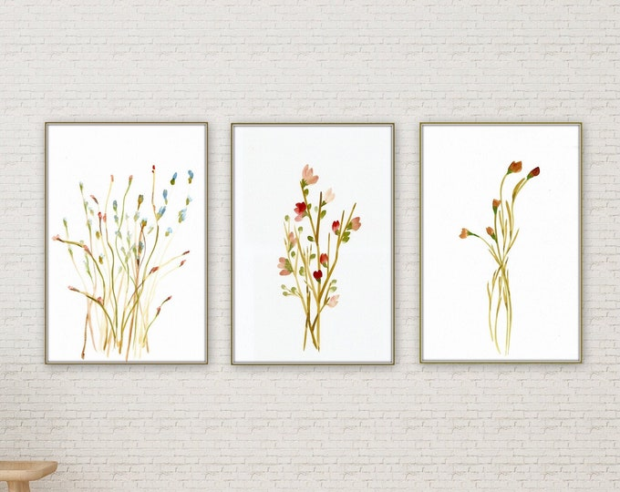 Set of three farmhouse wall decore botanical prints, ready to frame, pretty red floral wall art, botanical leaves print