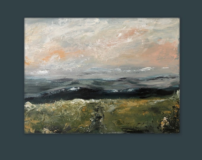 Original, Pretty abstract landscape, sunset painting by Marcy chapman Textured wall art, mountain painting, 24 x 18 inches x 1.5 deep