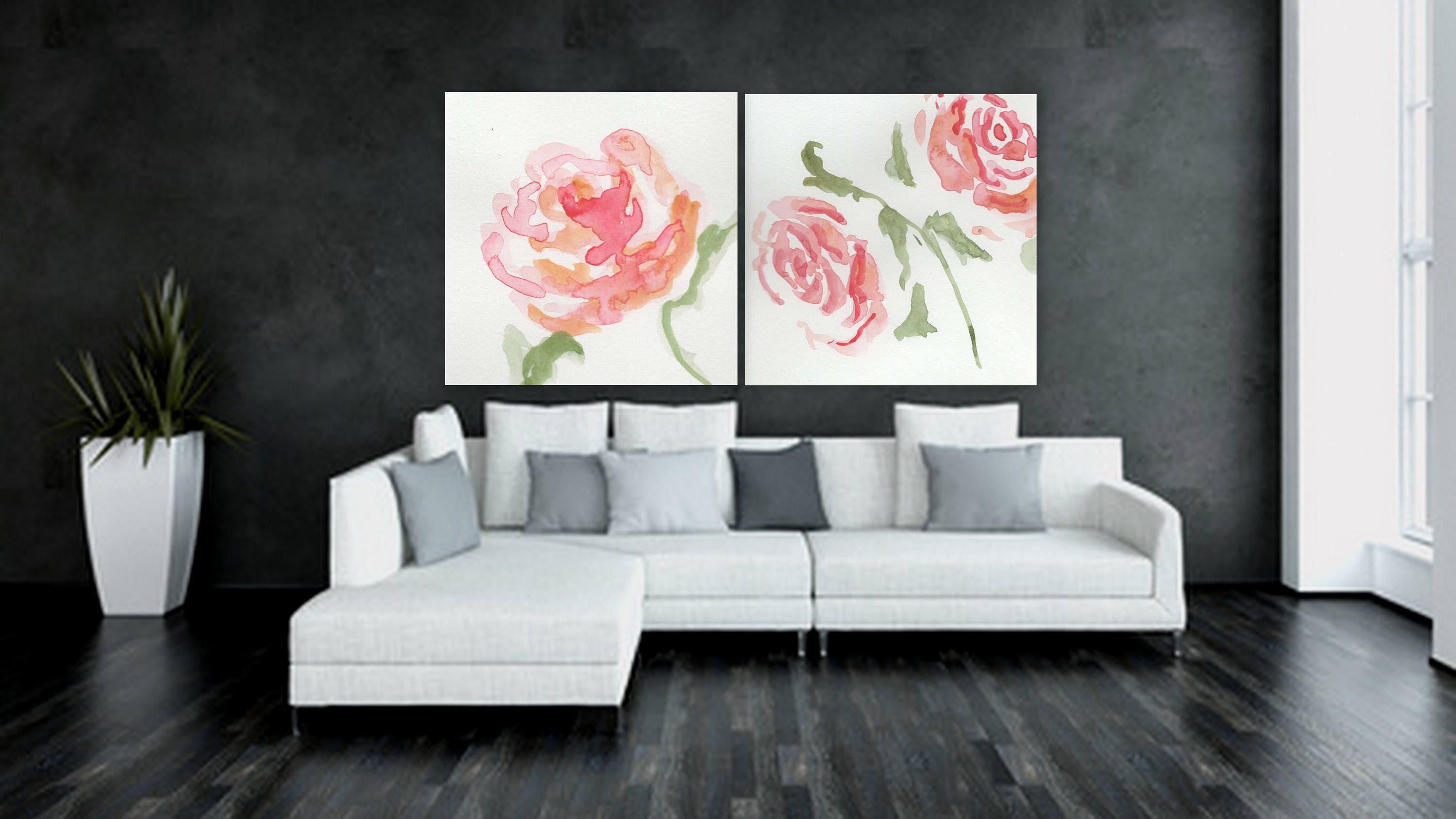 Large Custom Order Floral Painting Flower Artwork White And Pink