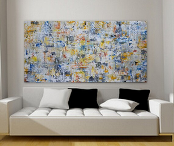 Huge custom order abstract painting gray yellow orange blue free shippining unstretchef canvas 80 x 40 large decor wall art Marcy Chapman