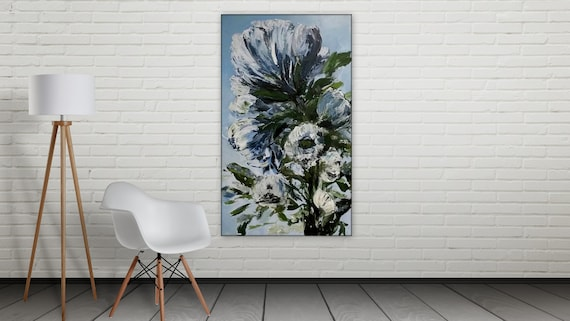 "Large Blue (navy) Floral Painting, Orignal art,  Marcy Chapman  36"" x 60"""