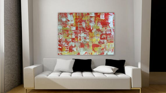 Large abstract painting by Marcy Chapman 48 x 36 in red, gold, tan/ beige, white