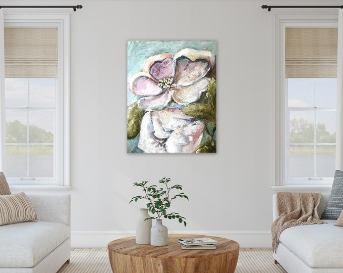 24 x 30 textured floral painting, magnolia art farmhouse wall art orginal paintings by Marcy Chapman pink white pastel colors