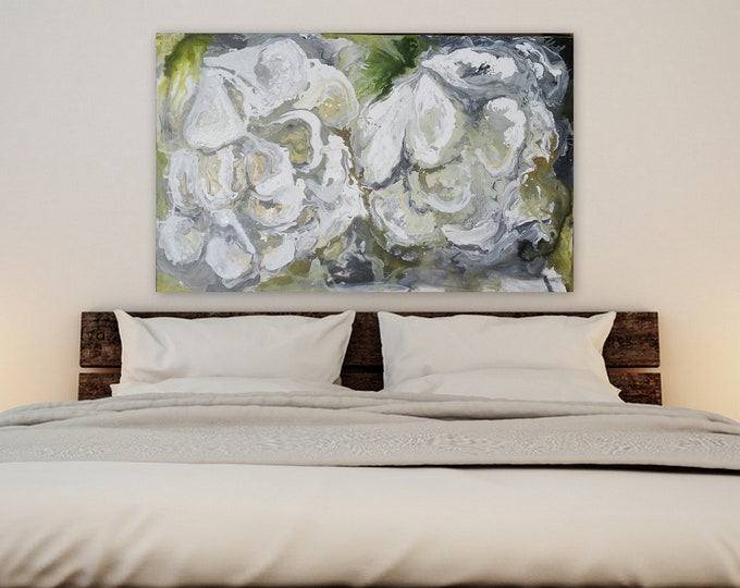 Large abstract fluid painting by Marcy Chapman abstract gray green floral art wall art flower painting large flower painting ready to hang