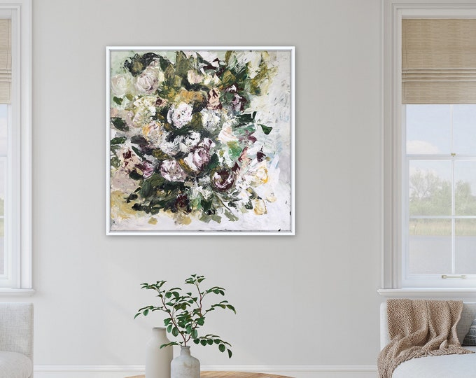 Large origianl botanical floral painting, bouquet, floral painting by Marcy Chapman ready to hang xl abstract painting pink white yellow