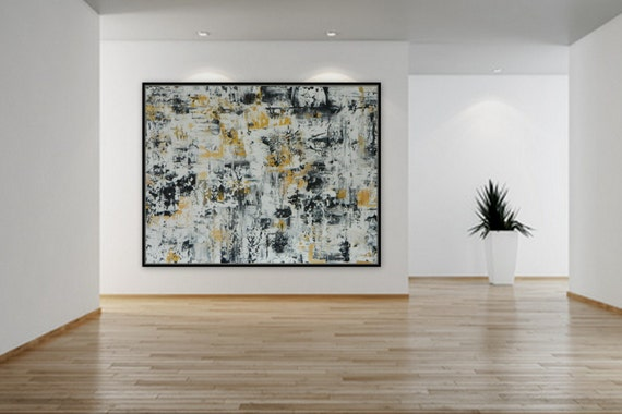 sample Large XL Gold Black and White acrylic abstract painting huge paintings original artwork by the artist Marcy Chapman 2016 signed art