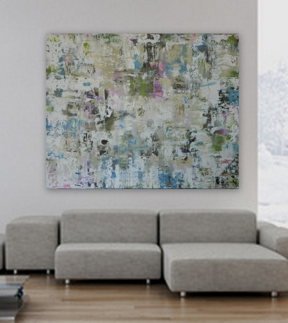 "Extra Large XL HUGE 48"" x 60"" Custom painting by Marcy Chapman Modern Abstract silver/blue green pink fuchsia cream, white"