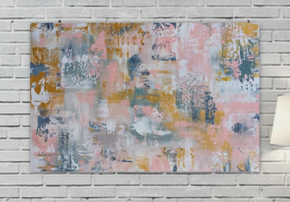 "large pink gold abstract painting 36 x 24 "" Longed For"" Large pink yellow gray wall art Original girls room canvas modern contemporary"